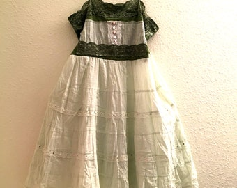 Recycled shirt summer dress Cotton Applique Upcycled clothing