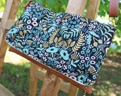 Reserved Gold and blue botanical crossbody