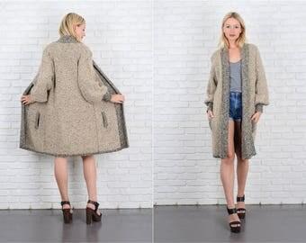 Vintage 80s Black + Beige Nubby Knit Coat Sweatercoat Sweater Oversize S M L 10086