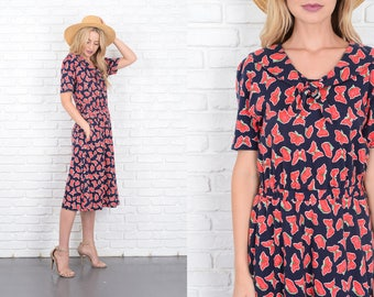 Vintage 80s Navy Blue + Red Butterfly Print Dress midi Small S 10116