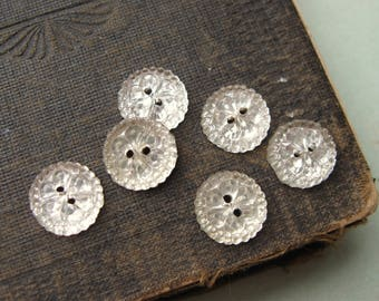 Vintage Mirrored Glass Bumpy Texture 2-hole Buttons 12mm Foiled Backs (6)