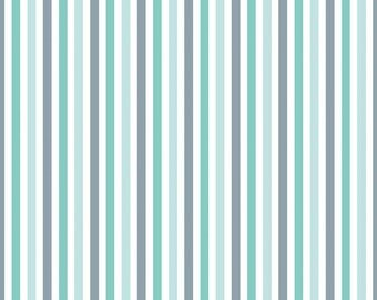 Teal and Grey Stripes From Riley Blake's Sharktown Collection by Shawn Wallace