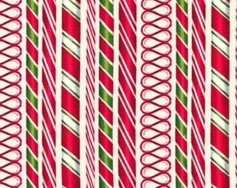 Candy Cane Stripes on Ivory from Robert Kaufman's Holly Jolly Christmas Collection by Mary Lake-Thompson