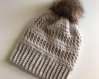 Cream Crochet Beanie with Fur Pom, Winter Pom Hat