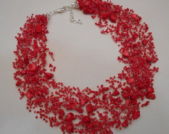 Free Shipping!!! Handmade. Multistrand Air Necklace. Jewelry Bead Crochet Necklace. Bead Crochet.  With Corals. #1