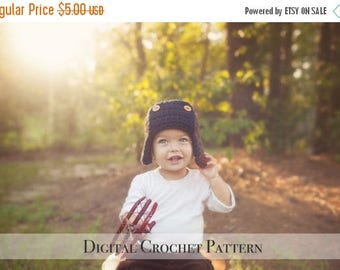 ON SALE Crochet Hat Pattern / Crochet Pattern / Aviator Hat Pattern 023 / Bomber Hat Pattern / Unisex Pattern