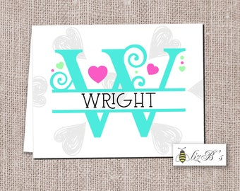 Personalized Adult Valentine Heart Note Cards PRINTED