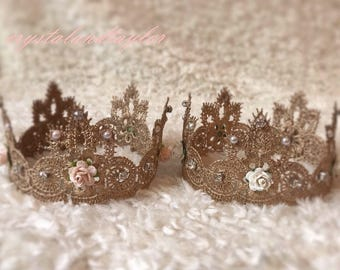 Ivory Gold Lace Crown or Peach Crown, Floral Crown, Baby Crown, Princess Crown, Photo Prop, Baby Prop, Newborn Prop, Small Crown