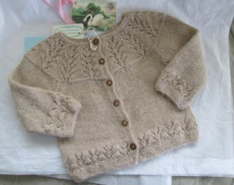 Hand Knit Baby Sweater Ready to ship Luxury Baby Alpaca 12M to 18M