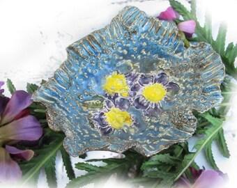 blue Ceramic dish ,  Handmade Trinket Dish - small ceramic dish - blue Trinket Dish ,catch all dish -  gift under 20,  # 177