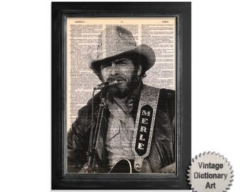 Merle Haggard Artwork - Printed on Vintage Dictionary Paper - 8x10.5 - Vintage Dictionary Art Print