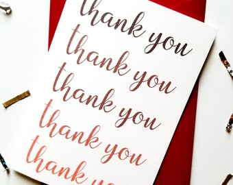 Thank You Red Ombre Card with Matching Red Envelope