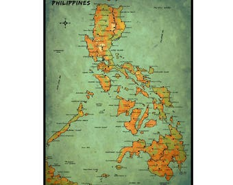 PHILIPPINES Vintage Map 15G- Handmade Leather Wall Hanging - Travel Art