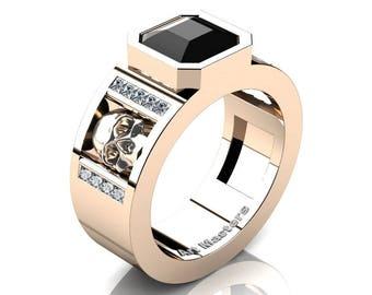 Mens Modern 14K Rose Gold 3.0 Ct Royal Emerald Cut Black Diamond Princess White Diamond Skull Wedding Ring R41N-14KRGDBD