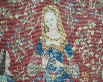 Stunning huge vintage French needlepoint tapestry - Lady and the Unicorn - Medieval Renaissance Cluny - 3 types of needlepoints