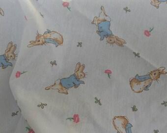 Vintage Beatrix Potter Peter Rabbit Fabric Scraps - Retro Bunny Fabric, Whimsical Vintage Peter Rabbit Cotton Material, Nursery Matetial