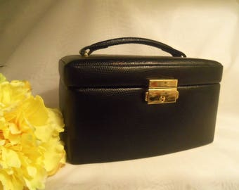 Handy Women's Vintage NEVER USED Black Leather Locking Jewelry Travel Case Box Suitcase w/ Mini Case & KEY- Birthday Her Mom Mother Wife