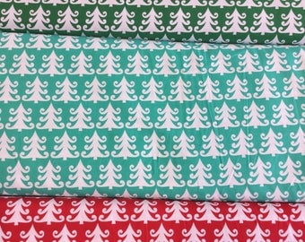 Michael Miller Tree Farm Collection CX-5287 Christmas Trees in Red, Green or Aqua  by the half metre