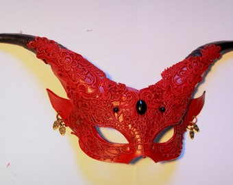 Womans Red Satyr leather mask