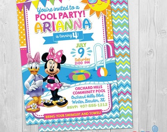 Minnie Mouse Pool Party Invitation, Minnie Mouse and Daisy Duck Pool Party Invitation, Printable Minnie Summer Pool Party Invite, DIY