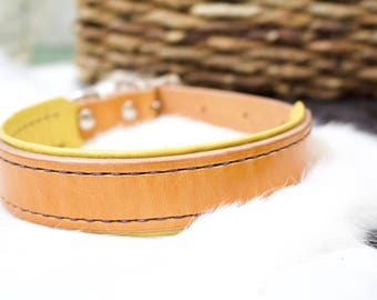 Large Custom Leather Dog Collar with Lining - Orange Dog Collar - Durable Dog Collar - Male Leather Dog Collar - Female Leather Dog Collar