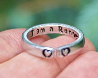 Runner Mantra Ring, I am a Runner Ring for Runners, Gift for Runner, Runner Ring, Marathon jewelry, Ring for Runners, Ring for Running, Run