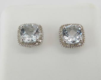 Cushion Cut Aquamarine and Diamond Halo Stud Earrings Wedding Studs White Gold Aqua March Birthstone