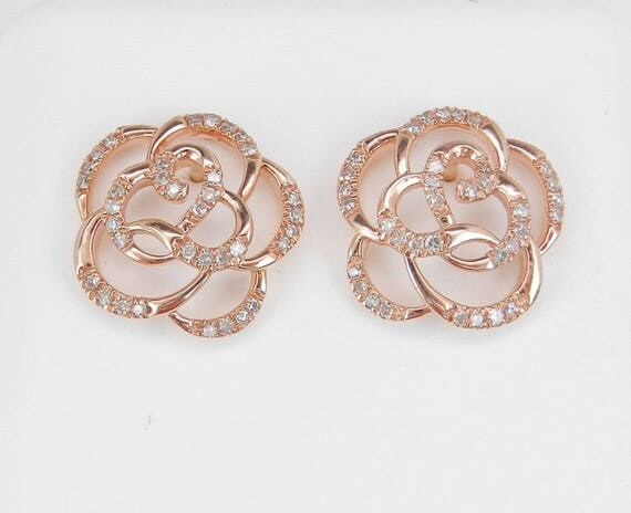 Diamond Stud Earrings Flower Studs Rose Pink Gold Wedding Gift Earrings