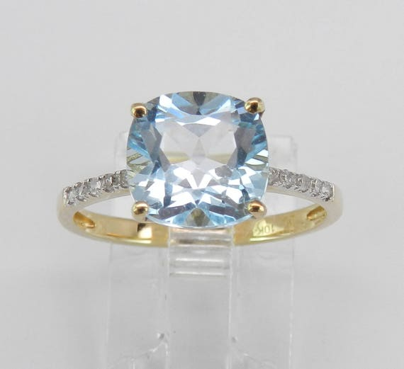 Yellow Gold 2.60 ct Diamond and Cushion Cut Blue Topaz Engagement Ring Size 7.25