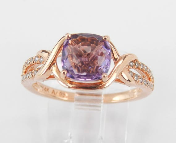 Amethyst and Diamond Engagement Ring Promise 14K Rose Gold Size 7 February Birthday
