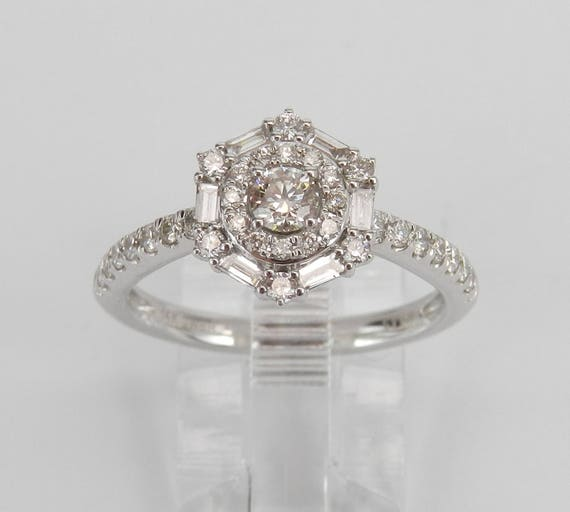 14K White Gold 1.00 ct Diamond Double Halo Engagement Ring Size 7 Beautiful