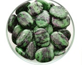 1 RUBY in ZOISITE Palm Stone aka Rubychrosite Tumbled Stone Crystal Anoylite Healing Crystal and Stone #RC24