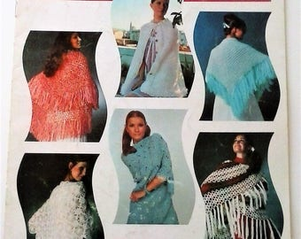 Crocheted Shawls Pattern Booklet - 6 Vintage Shawl Patterns - Bear Brand Fleisher Botany VOL 462 - 1972