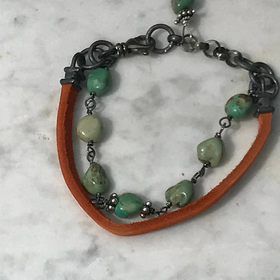 Leather and Turquoise - wire Wrapped - Eco Friendly Sterling Silver - Artisan Urban - Sundance Style Jewelry