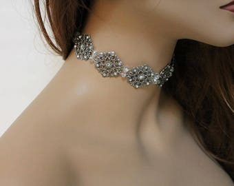 Bridal Choker Necklace, Elegant Evening Choker, Oxidized Silver, Special Occasion Wedding Jewelry