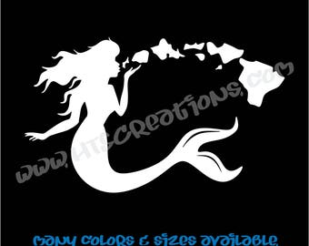 Mermaid Hawaii Hawaiian State Blow Kiss Vinyl Decal Sticker Laptop Car Boat Surfboard Mirror Vanity Beach Aloha HAWAIIMERMAID1