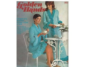 ON SALE 1960s Golden Hands Part 56 Volume 4 Dressmaking Crochet Wallhanging Fringed and Feminine Lounge Robes to Knit Needlecraft Patterns
