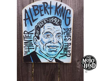 Albert King blues folk art painting on wood by Grego of mojohand.com - outsider art
