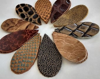20pcs Leather Teardrops Die Cut, Brown Tones Genuine Leather, Embossed Patterns Leather