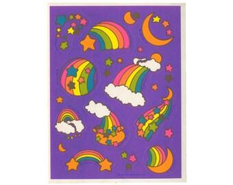 Vintage 80's HALLMARK Stickers Sheet ~ RAINBOWS Metallic Gold Pastel Stars