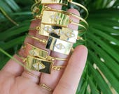 Jonc gourmette & losange en zircon // Rhombus bangle bracelet