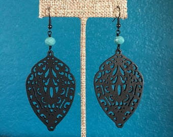 Black & Turquoise Wood Earrings