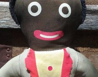 "Vintage GOLLIWOG CLOTH DOLL 16"" Black Minstrel Rag Handmade"
