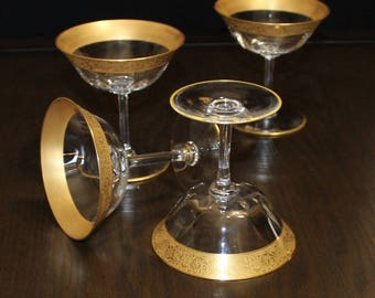 Gorgeous, Set of 4, Vintage Optic, Gold Encrusted, Champagne Glasses, Tall Sherbet