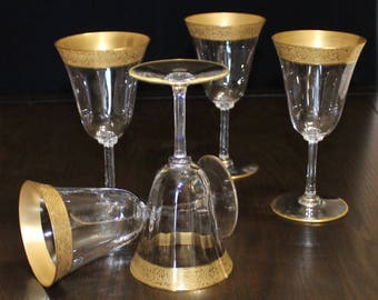 Vintage, Set of 5, Optic Gold Encrusted Water / Wine Goblets