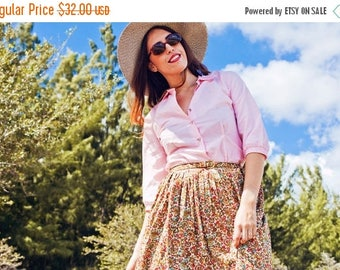 FLASH SALE 50s Pink Collar Blouse Vintage Pointy Mid Sleeve Blouse