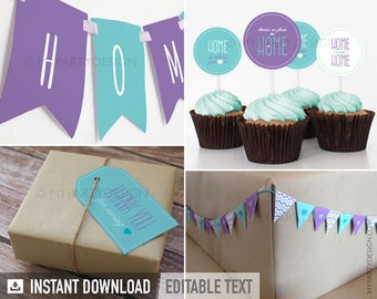 House Warming Party Pack - Purple and Turquoise - INSTANT DOWNLOAD - Printable PDF with Editable Text