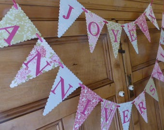 Joyeux Anniversaire Bunting - Tea Party Banner - Pink, Green, Blue, Floral