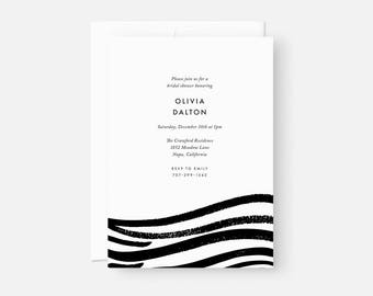 Modern Bridal Shower Invite / Simple Modern Party Invitations / Painterly Invitation / Black and White / Coed Baby Shower, Engagement Party