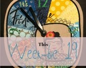 """This Week-bie 19 - It's Frida Time - a Fun and Beautiful Machine Embroidery Design for a DIY Clock, Digital file for the 8 x 8"""" Hoop"""